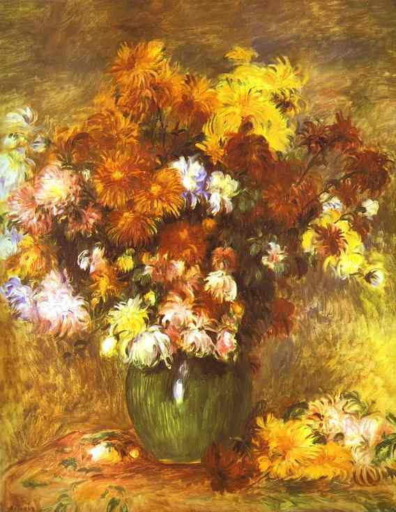 famous painting bouquet di crisantemi of Pierre-Auguste Renoir