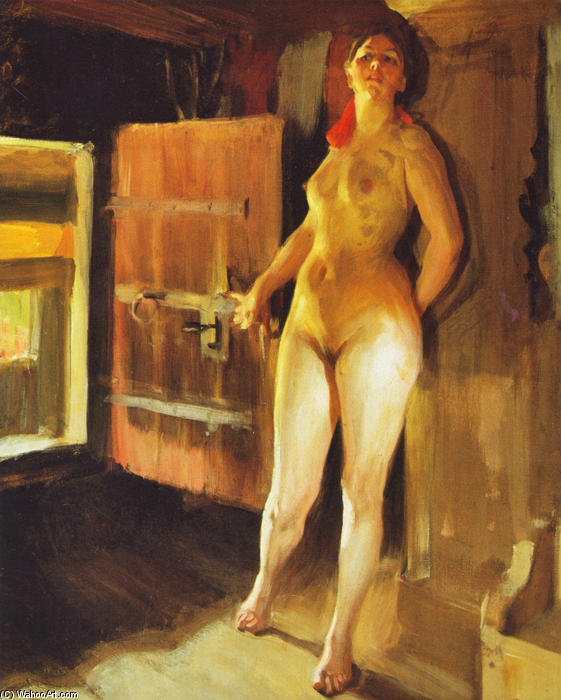 famous painting Flickan papà loftet ( Ragazza in il loft ) of Anders Leonard Zorn