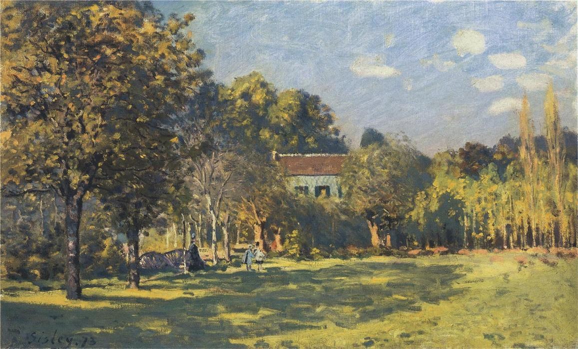 famous painting a parco in louveciennes of Alfred Sisley
