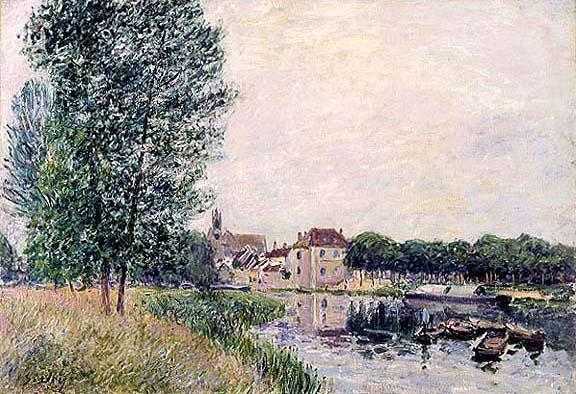famous painting Loing a Moret of Alfred Sisley