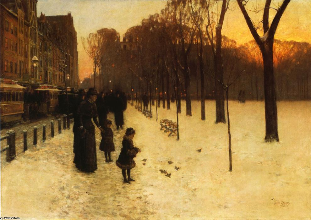 famous painting Boston Common al tramonto of Frederick Childe Hassam