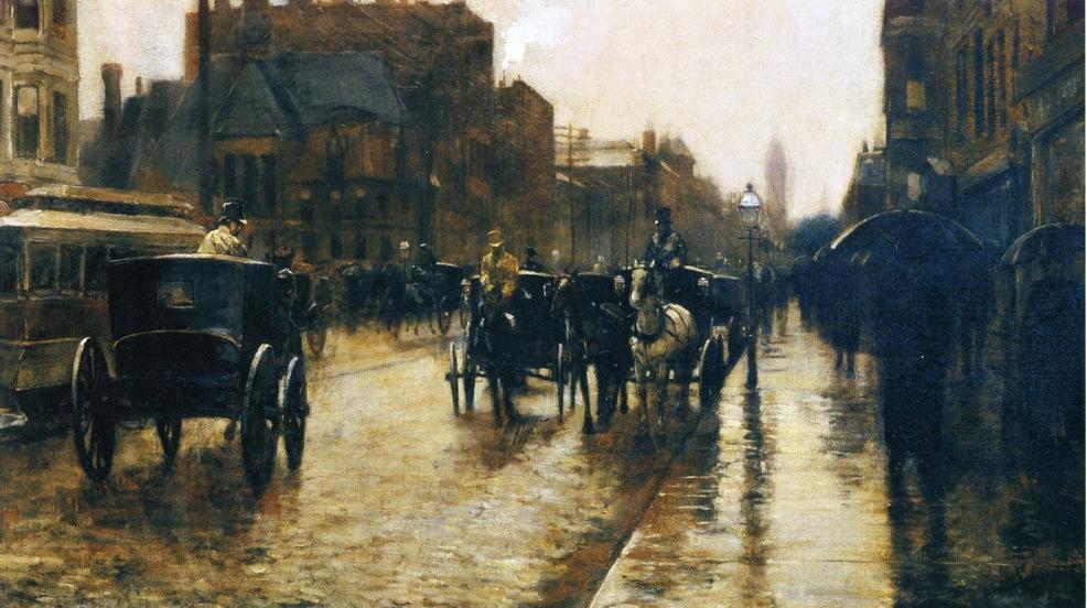 famous painting Columbus Avenue Rainy Day of Frederick Childe Hassam