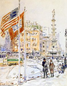 Frederick Childe Hassam - Bandiere, Columbus Circle