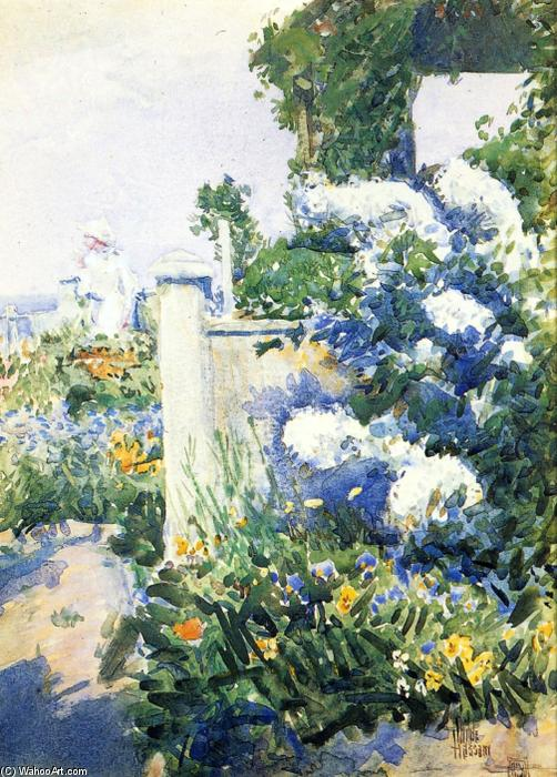 famous painting giardino sul mare , isole di shoals of Frederick Childe Hassam