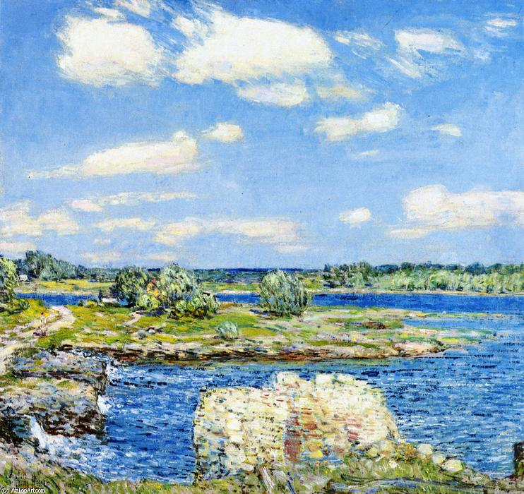 famous painting Mill Site e Old Todal Dam, Cos Cob of Frederick Childe Hassam