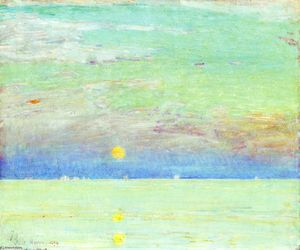 Frederick Childe Hassam - Moonrise at Sunset