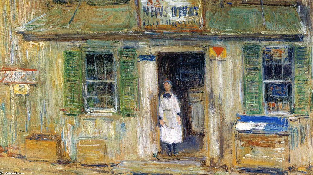 famous painting Notizie Depot, Cos Cob of Frederick Childe Hassam