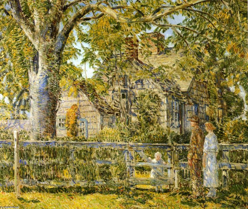 famous painting Old Mumford House, Easthampton of Frederick Childe Hassam