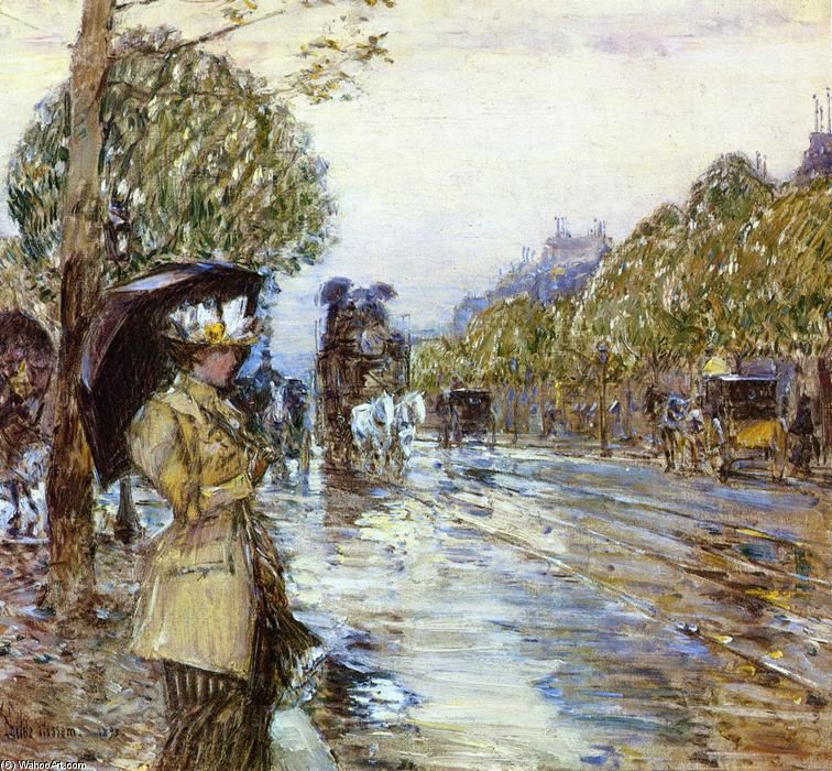 famous painting giorno piovoso a Parigi  of Frederick Childe Hassam