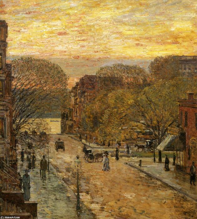 famous painting Molla su  Ovest  78th   via  of Frederick Childe Hassam