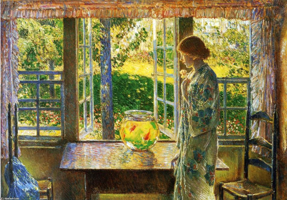 famous painting La finestra Goldfish of Frederick Childe Hassam
