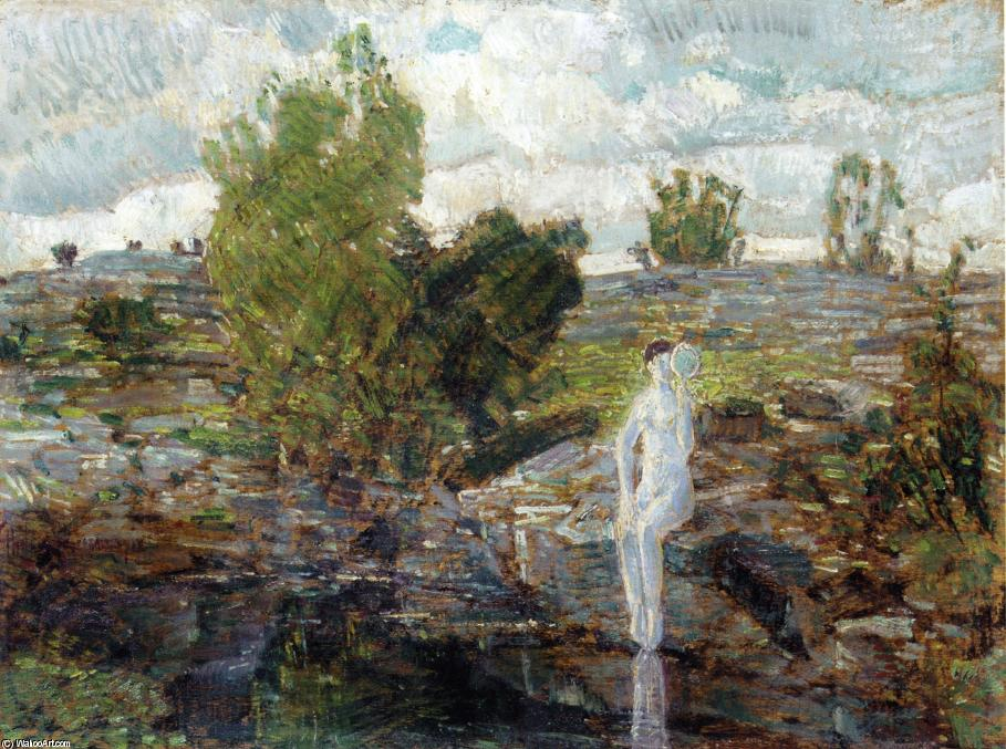 famous painting The Quarry Pool, Folly Cove, Cape Ann of Frederick Childe Hassam