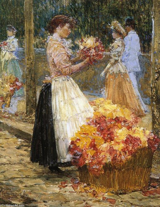famous painting Donna Sellillng Fiori of Frederick Childe Hassam