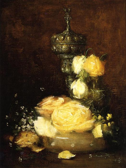 famous painting argento `chalice` con rose of Julian Alden Weir