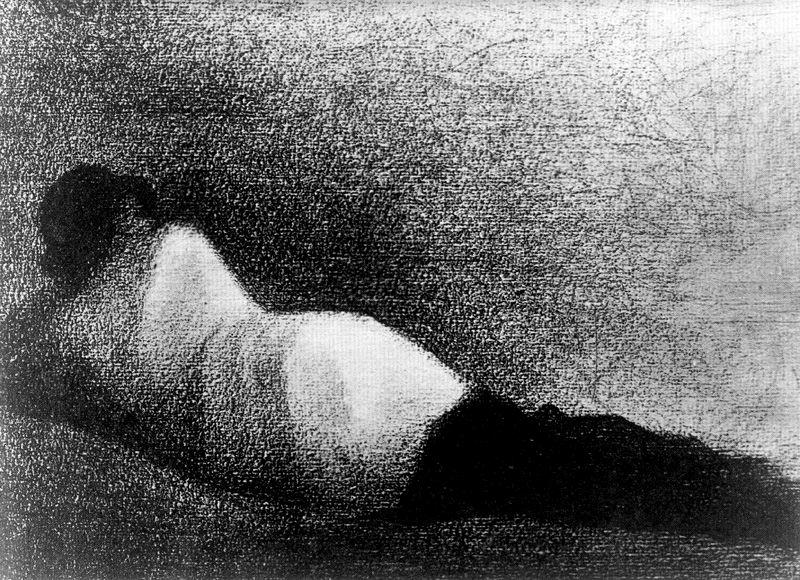 famous painting Reclining Man Ascolto of Georges Pierre Seurat