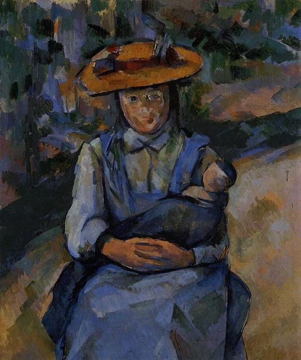 famous painting poco ragazza con a bambola of Paul Cezanne