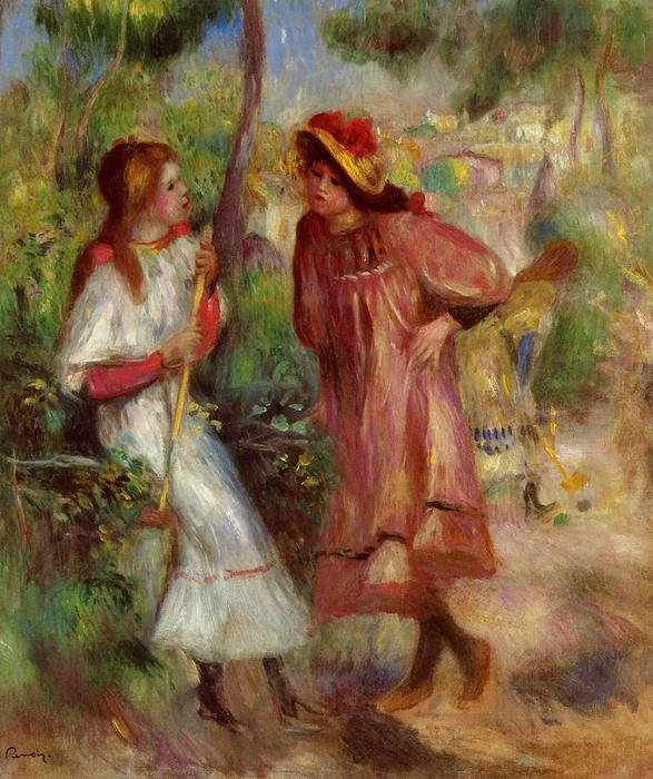 famous painting due ragazze in giardino a montmartre of Pierre-Auguste Renoir