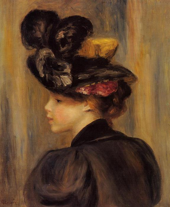 famous painting giovane donna indossare a nero cappello of Pierre-Auguste Renoir