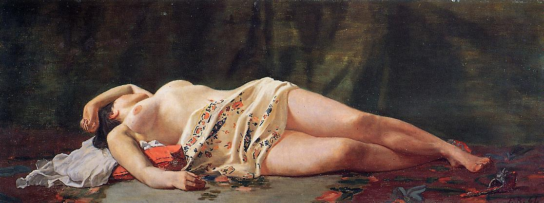 famous painting Nudo sdraiato of Jean Frederic Bazille