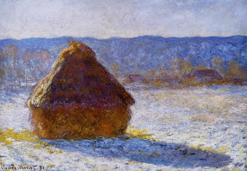 famous painting Grainstack nel mattino , effect snow of Claude Monet