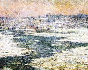 Ernest Lawson - Ice on the Hudson
