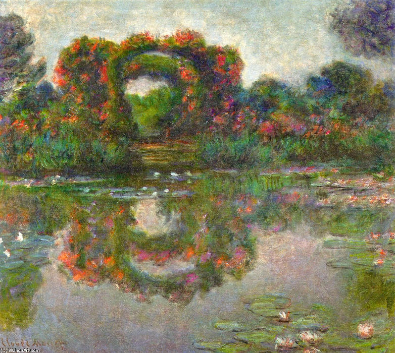 famous painting Rose fioriti archi a Giverny of Claude Monet