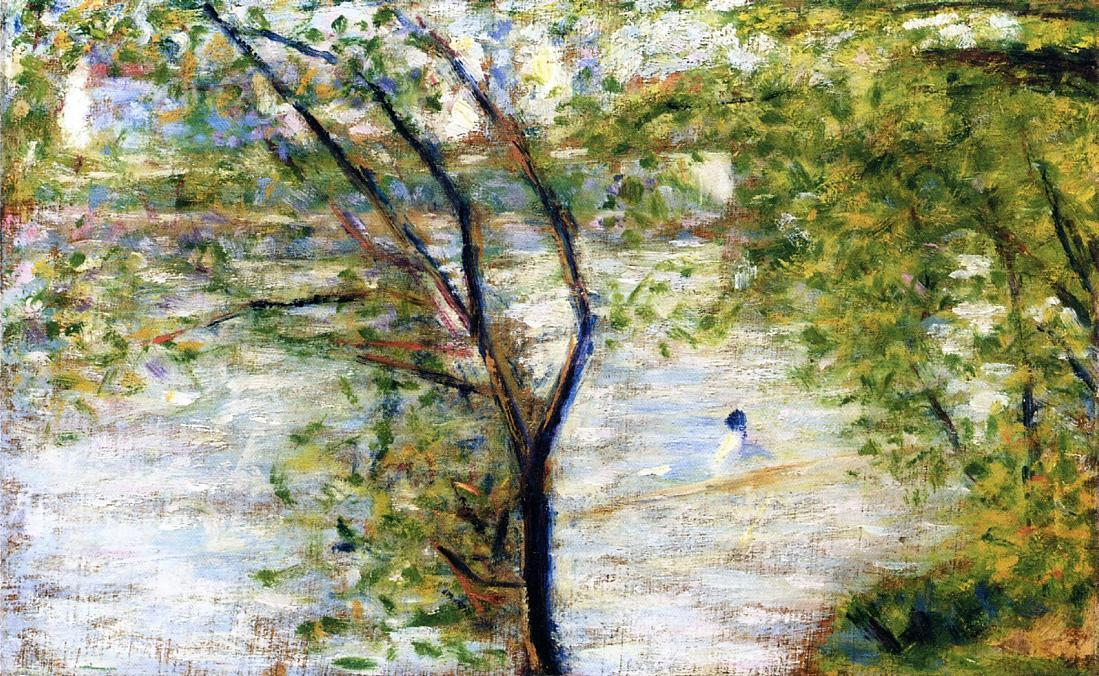 famous painting Un Canoe  of Georges Pierre Seurat