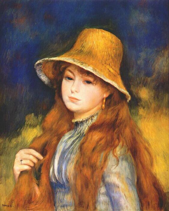 famous painting ragazza con a `straw` cappello of Pierre-Auguste Renoir