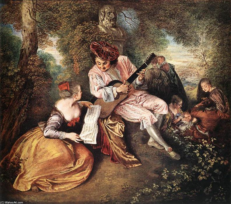 famous painting La gamme d amour (The Love Song) of Jean Antoine Watteau