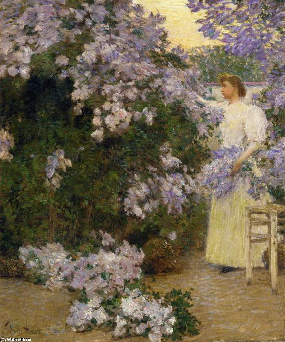 famous painting Sig ra . Hassam in giardino of Frederick Childe Hassam