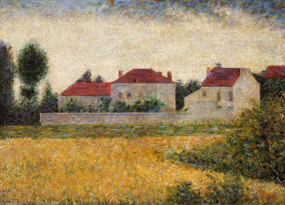 famous painting bianco case , Ville d'Avray of Georges Pierre Seurat