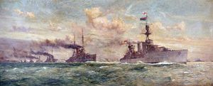 Charles Edward Dixon - Hms Cardiff Leading The German Flotta Surrendered