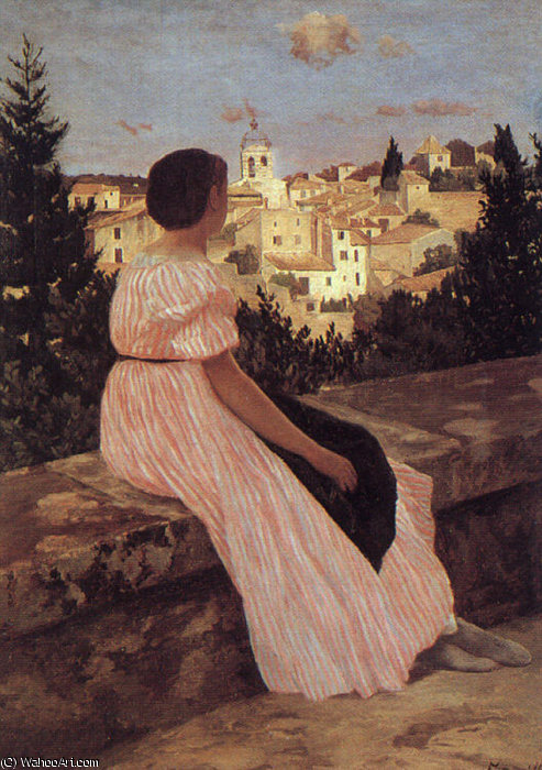 famous painting il rosa vestito of Jean Frederic Bazille