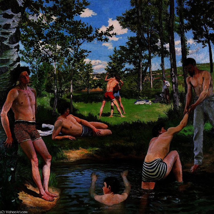 famous painting estate scena (bagnanti of Jean Frederic Bazille