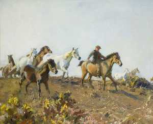 Alfred James Munnings - 'Shrimp' Principale Pony attraverso un Norfolk Comune
