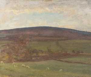 Alfred James Munnings - Withypool Collina , Exmoor , Pecore in il primo piano