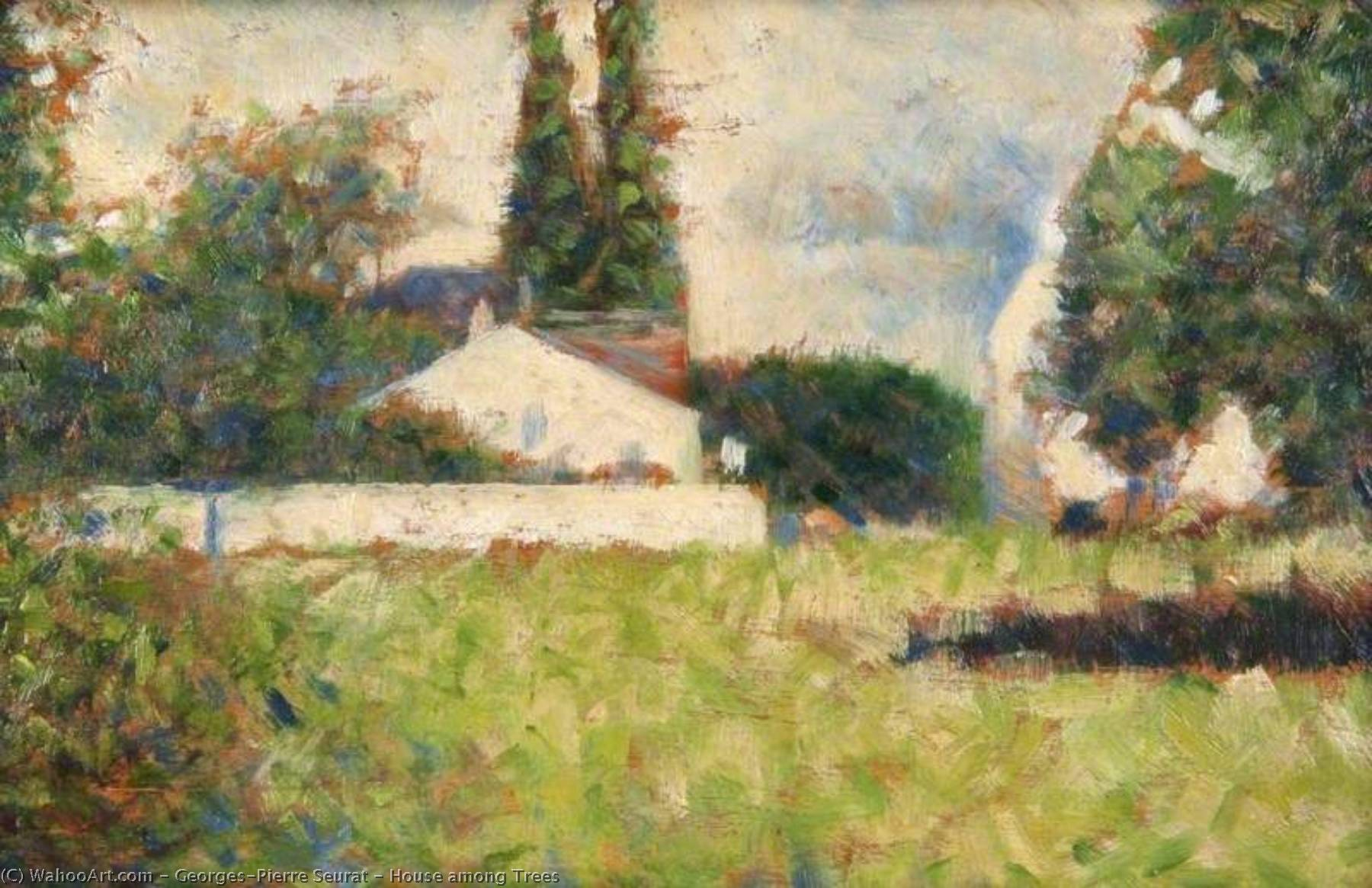 famous painting Casa tra  alberi  of Georges Pierre Seurat